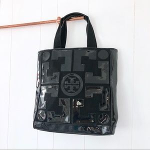 Tory Burch • Black Canvas Patent Logo Tote Bag